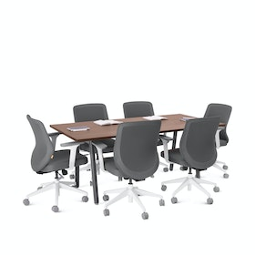 "Series A Conference Table, Walnut, 72x36"", Charcoal Legs"