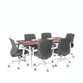 "Series A Conference Table, Walnut, 72x36"", White Legs"