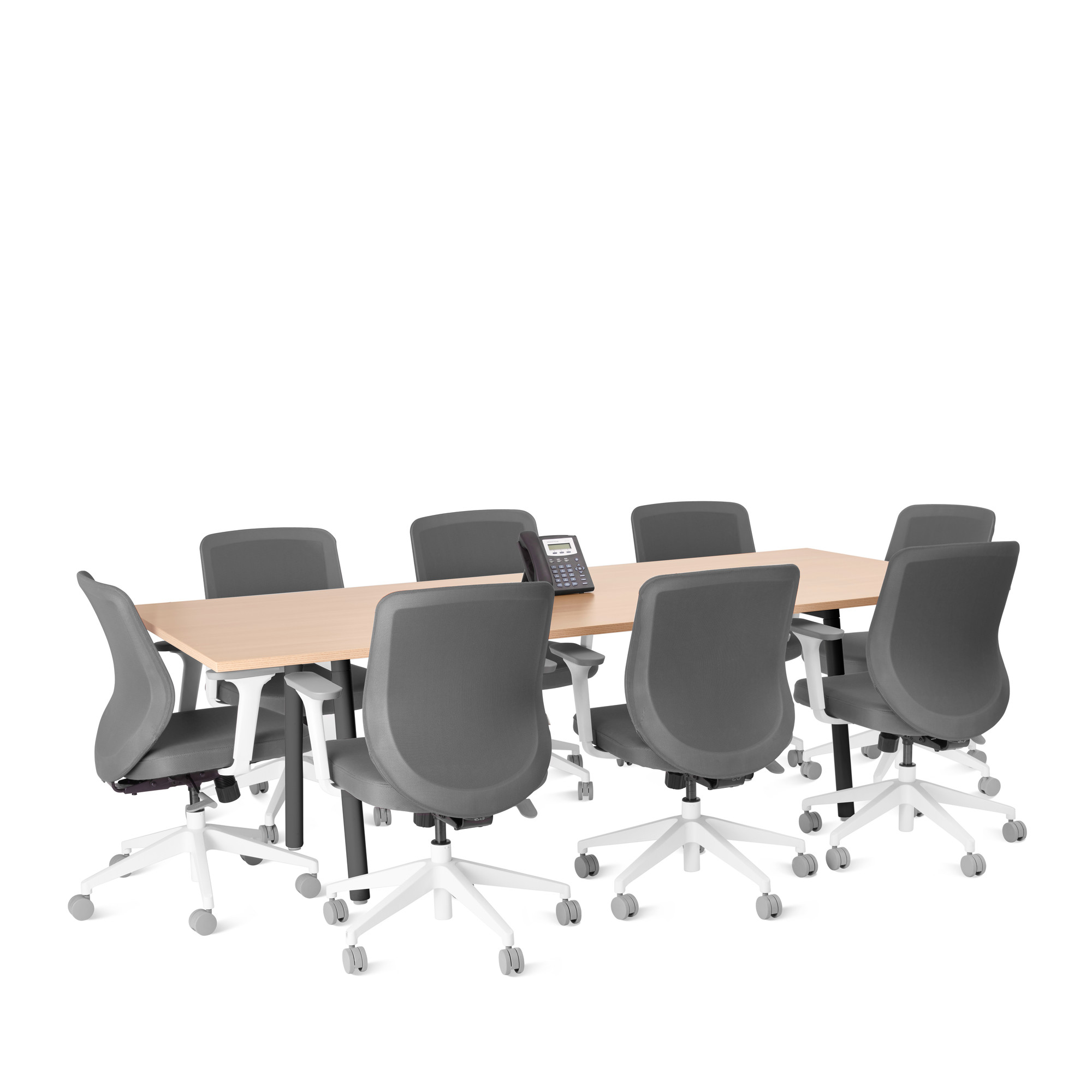 Picture of: Series A Conference Table Natural Oak 96×42 Charcoal Legs