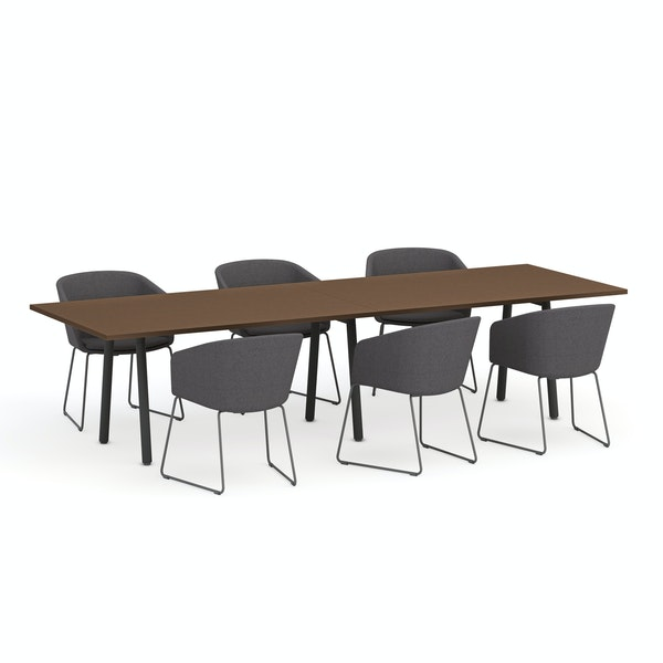 """Series A Conference Table, Walnut, 124x42"""", Charcoal Legs,Walnut,hi-res"""
