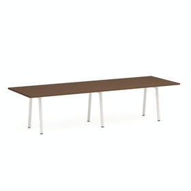 "Series A Conference Table, Walnut, 124x42"", White Legs"