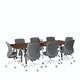 """Series A Conference Table, Walnut, 96x42"""", Charcoal Legs,Walnut,hi-res"""