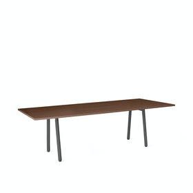 "Series A Conference Table, Walnut, 96x42"", Charcoal Legs"