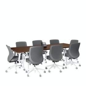 "Series A Conference Table, Walnut, 96x42"", White Legs"