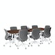 """Series A Conference Table, Walnut, 96x42"""", White Legs,Walnut,hi-res"""