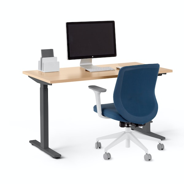 "Series L 2S Adjustable Height Single Desk, Natural Oak, 47"", Charcoal Legs,Natural Oak,hi-res"