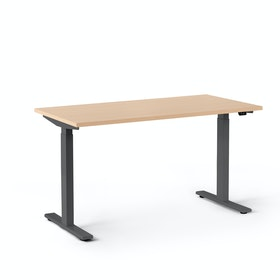 "Series L 2S Adjustable Height Single Desk, Natural Oak, 47"", Charcoal Legs"