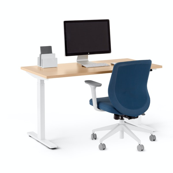 "Series L 2S Adjustable Height Single Desk, Natural Oak, 47"", White Legs,Natural Oak,hi-res"