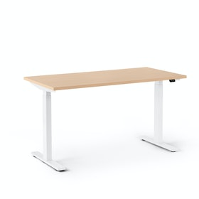 "Series L 2S Adjustable Height Single Desk, Natural Oak, 47"", White Legs"