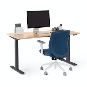 "Series L 2S Adjustable Height Single Desk, Natural Oak, 57"", Charcoal Legs"