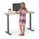 "Series L 2S Adjustable Height Single Desk, Natural Oak, 57"", Charcoal Legs,Natural Oak,hi-res"