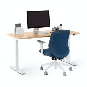 "Series L 2S Adjustable Height Single Desk, Natural Oak, 57"", White Legs"