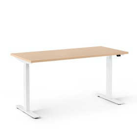 Series L 2S Adjustable Height Single Desk, White Legs