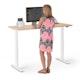 "Series L 2S Adjustable Height Single Desk, Natural Oak, 57"", White Legs,Natural Oak,hi-res"
