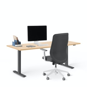 "Series L 2S Adjustable Height Single Desk, Natural Oak, 72"", Charcoal Legs"