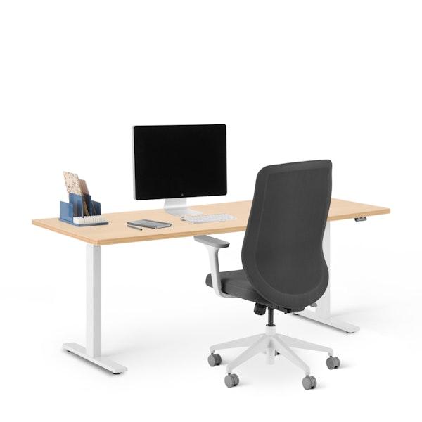 "Series L 2S Adjustable Height Single Desk, Natural Oak, 72"", White Legs,Natural Oak,hi-res"