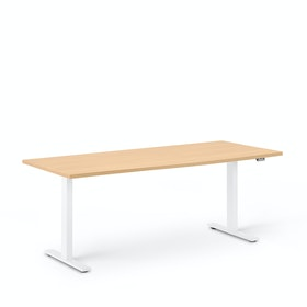 "Series L 2S Adjustable Height Single Desk, Natural Oak, 72"", White Legs"