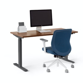 "Series L 2S Adjustable Height Single Desk, Walnut, 47"", Charcoal Legs"