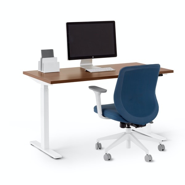 "Series L 2S Adjustable Height Single Desk, Walnut, 47"", White Legs,Walnut,hi-res"