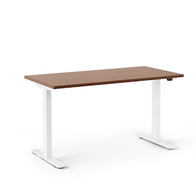 "Series L 2S Adjustable Height Single Desk, Walnut, 47"", White Legs"