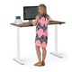 "Series L 2S Adjustable Height Single Desk, Walnut, 47"", White Legs,Walnut,hi-res"