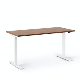 "Series L 2S Adjustable Height Single Desk, Walnut, 57"", White Legs"
