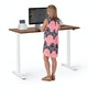 "Series L 2S Adjustable Height Single Desk, Walnut, 57"", White Legs,Walnut,hi-res"