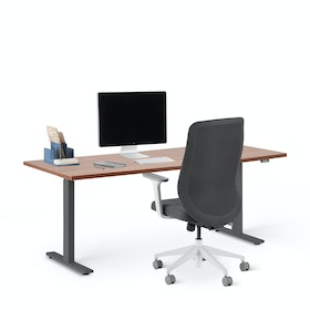 "Series L 2S Adjustable Height Single Desk, Walnut, 72"", Charcoal Legs"