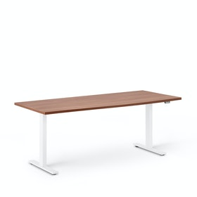 "Series L 2S Adjustable Height Single Desk, Walnut, 72"", White Legs"