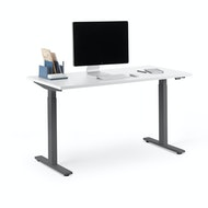Series L 2S Adjustable Height Single Desk, Charcoal Legs,,hi-res