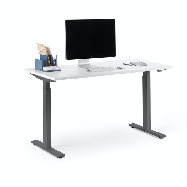 "Series L 2S Adjustable Height Single Desk, White, 47"", Charcoal Legs,White,hi-res"