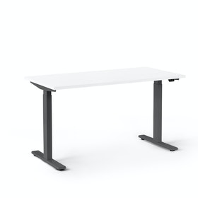 Series L 2S Adjustable Height Single Desk, Charcoal Legs