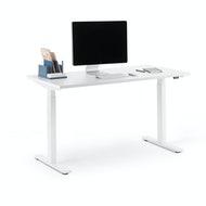 Series L 2S Adjustable Height Single Desk, White Legs,,hi-res
