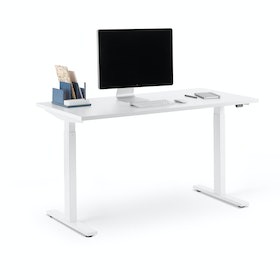 "Series L 2S Adjustable Height Single Desk, White, 47"", White Legs"