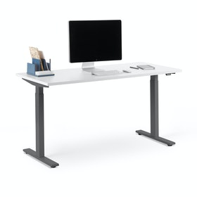 "Series L 2S Adjustable Height Single Desk, White, 57"", Charcoal Legs"