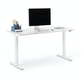 "Series L 2S Adjustable Height Single Desk, White, 57"", White Legs"