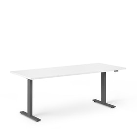 "Series L 2S Adjustable Height Single Desk, White, 72"", Charcoal Legs"