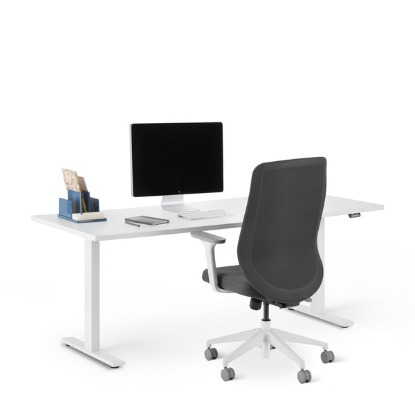 "Series L 2S Adjustable Height Single Desk, White, 72"", White Legs,White,hi-res"