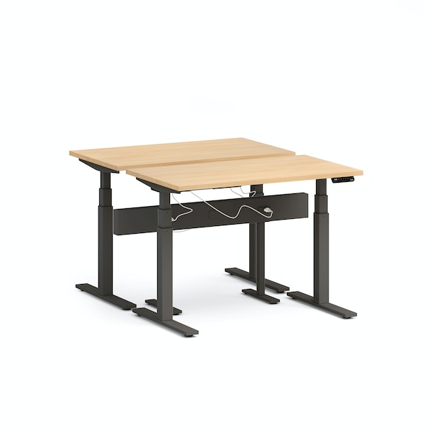 "Series L Desk for 2 + Boom Power Rail, Natural Oak, 47"", Charcoal Legs,Natural Oak,hi-res"