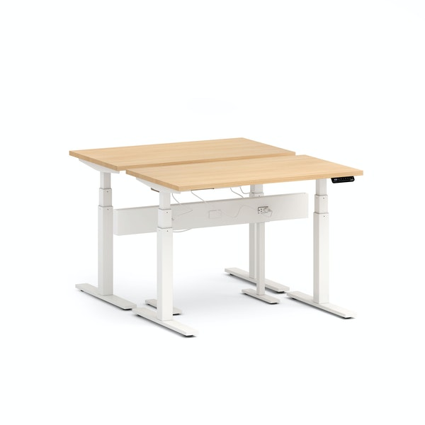 "Series L Desk for 2 + Boom Power Rail, Natural Oak, 47"", White Legs,Natural Oak,hi-res"