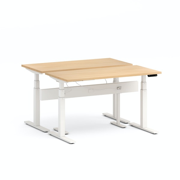 "Series L Desk for 2 + Boom Power Rail, Natural Oak, 57"", White Legs,Natural Oak,hi-res"