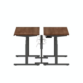"Series L Desk for 2 + Boom Power Rail, Walnut, 47"", Charcoal Legs"