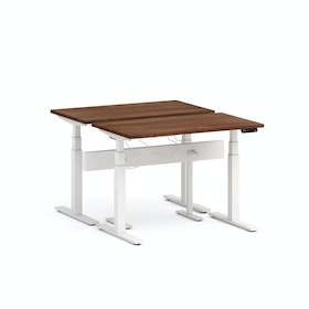 Series L Desk for 2 + Boom Power Rail, White Legs