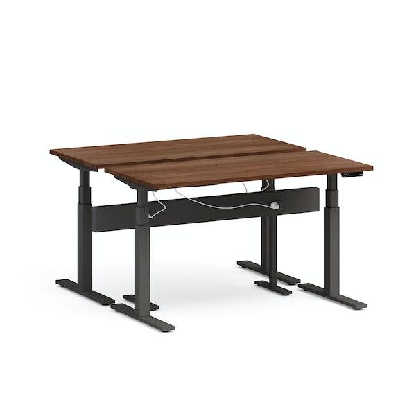 """Series L Desk for 2 + Boom Power Rail, Walnut, 57"""", Charcoal Legs,Walnut,hi-res"""