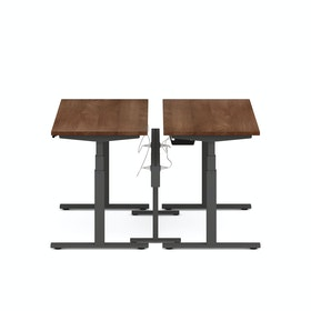 "Series L Desk for 2 + Boom Power Rail, Walnut, 57"", Charcoal Legs"