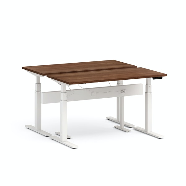 "Series L Desk for 2 + Boom Power Rail, Walnut, 57"", White Legs,Walnut,hi-res"