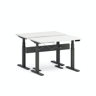 Series L Desk for 2 + Boom Power Rail, Charcoal Legs,,hi-res