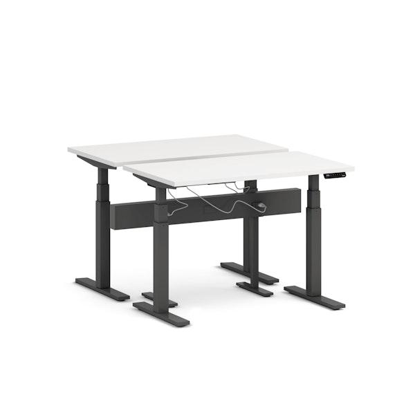 "Series L Desk for 2 + Boom Power Rail, White, 47"", Charcoal Legs,White,hi-res"