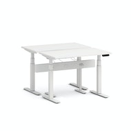 Series L Desk for 2 + Boom Power Rail, White Legs,,hi-res