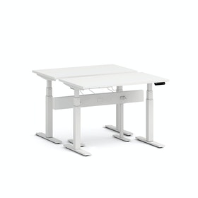 "Series L Desk for 2 + Boom Power Rail, White, 47"", White Legs,White,hi-res"